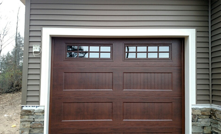 Recessed Carriage Panel Door Walnut with Windows